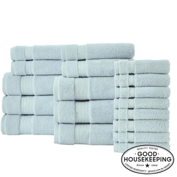 Egyptian Cotton 18-Piece Towel Set in Raindrop