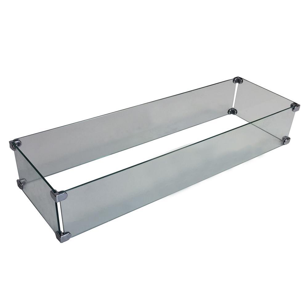 Fire Table Rectangular Glass Wind Blocker