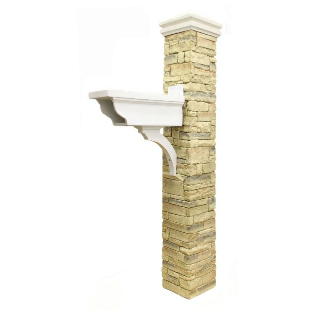 Eye Level Beige Stacked Stone Newspaper Holder and Curved Cap Mailbox Post