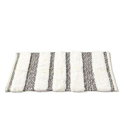 20 in. x 30 in. Black Geo Cotton Bath Rug