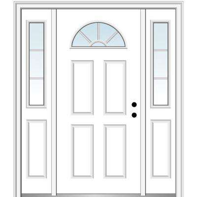 64 in. x 80 in. Internal Grilles Left-Hand Inswing 1/4-Lite Clear Painted Steel Prehung Front Door with Sidelites