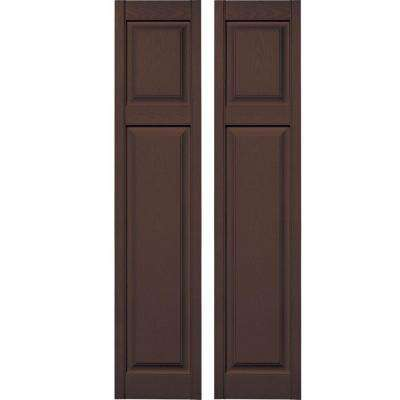 15 in. x 67 in. Cottage Style Raised Panel Vinyl Exterior Shutters Pair #009 Federal Brown