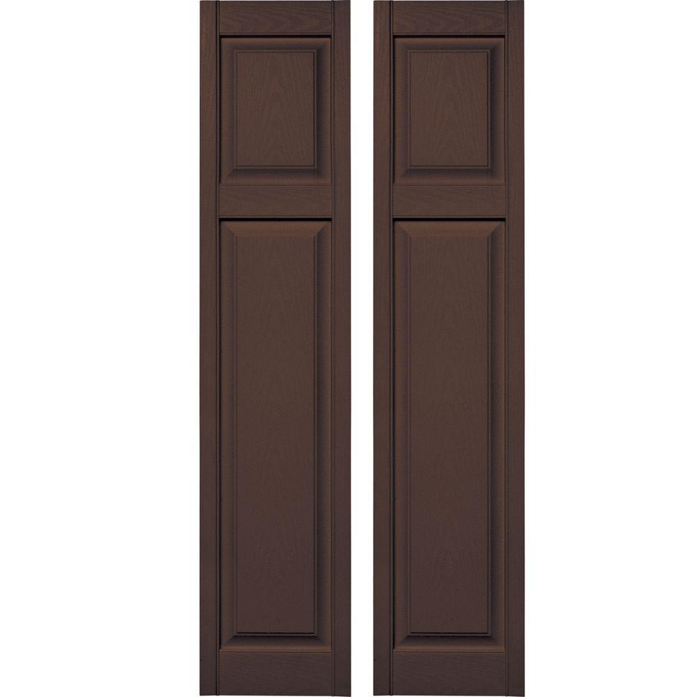 Builders Edge 15 In X 67 In Cottage Style Raised Panel Vinyl Exterior Shutters Pair 009 Federal Brown 030140167009 The Home Depot