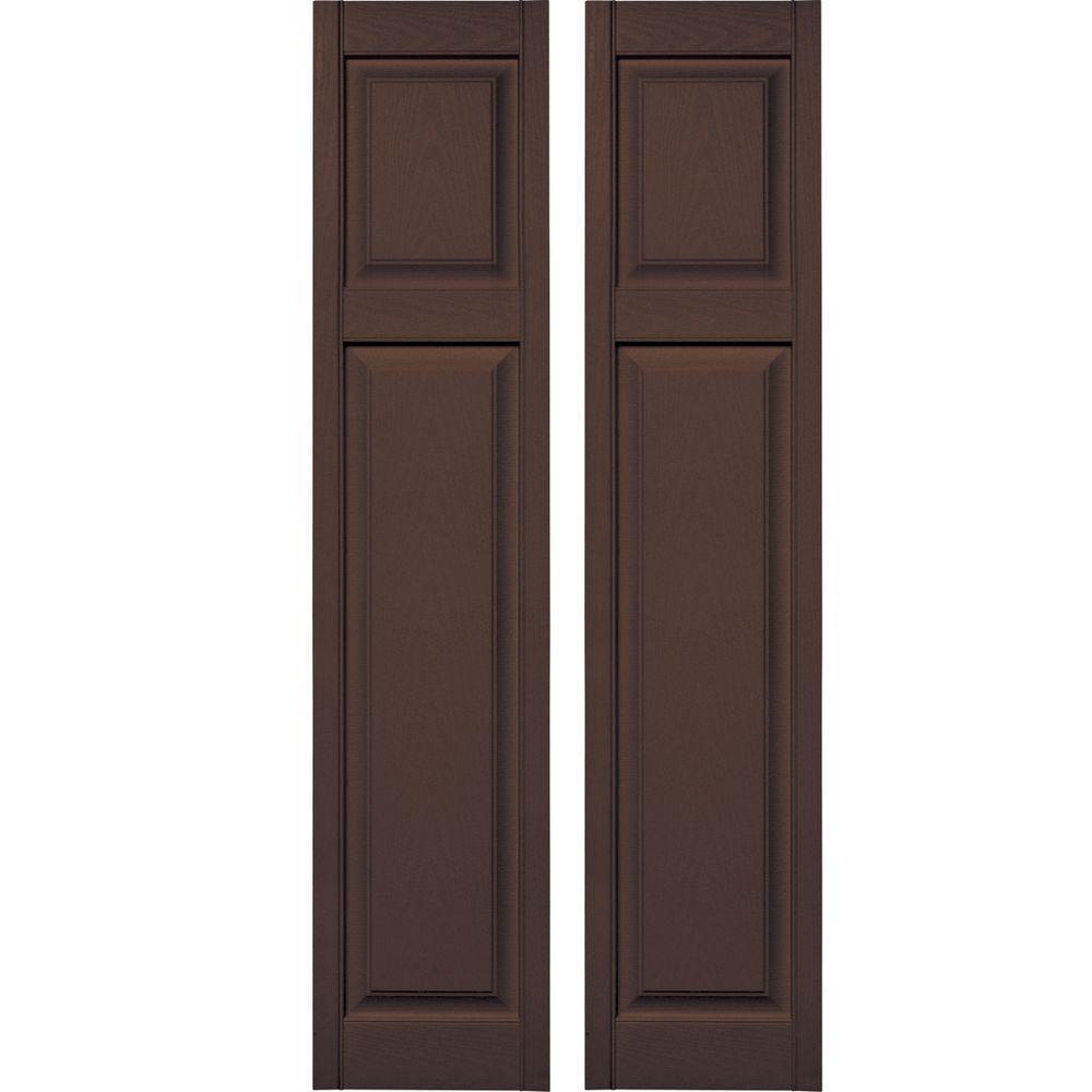 Federal Brown 14.75W x 55H Builders Edge  Shutters Per Pair 009