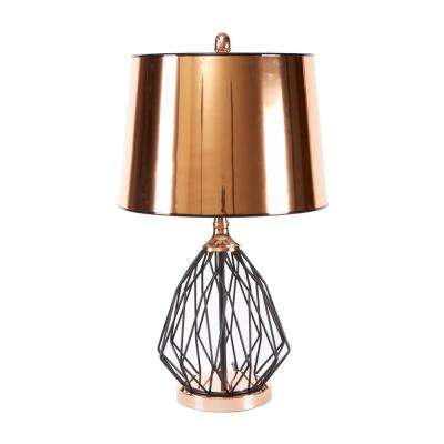 Geoff 25 in. Black Table Lamp with Linen Shade