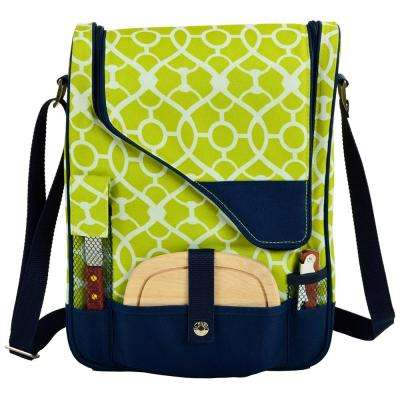 Wine and Cheese Cooler Bag with Glasses for 2 -Trellis Green