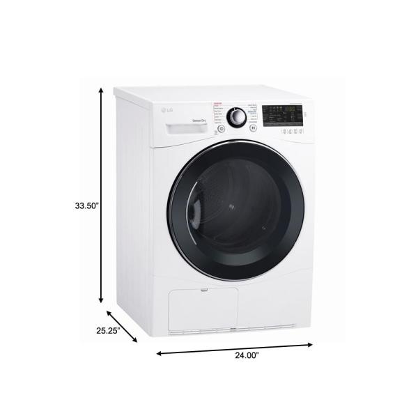 Lg Electronics 4 2 Cu Ft White Compact Stackable Front Load Electric Ventless Dryer With Sensor Dry Dlec888w The Home Depot