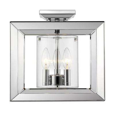 Smyth CH 3-Light Chrome Semi-Flush Mount with Clear Glass