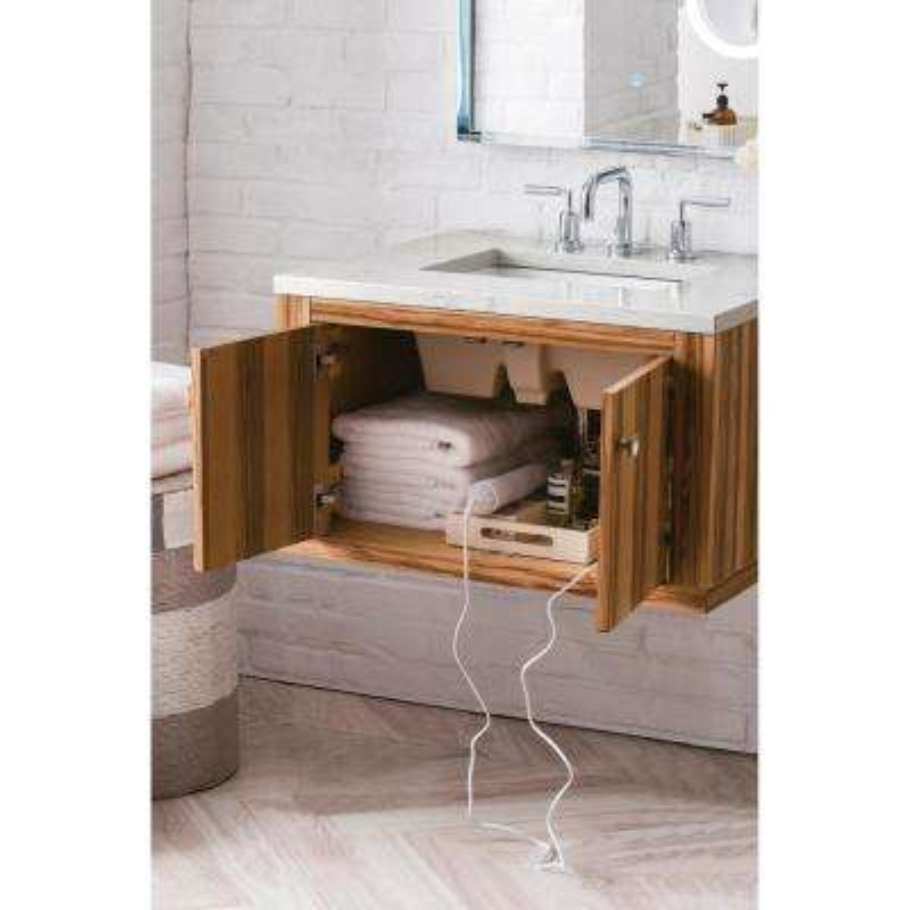 30 in. Single Bath Vanity in Natural Apple Wood with Quartz Vanity Top in Eternal Jasmine Pearl with White Basin