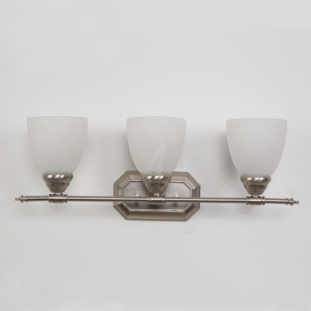 Vanity Lighting Series 3-Light Brushed Nickel Bathroom Vanity Light with White Glass Shade