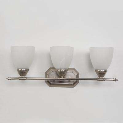 Vanity Lighting Series 3-Light Brushed Nickel Bathroom Vanity Light with White Glass Shade