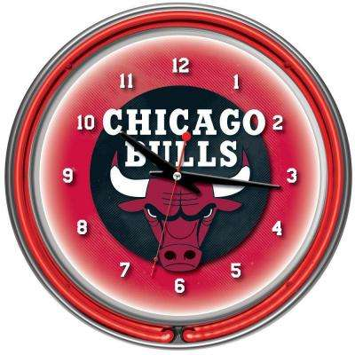 14 in. Chicago Bulls NBA Chrome Double Ring Neon Wall Clock