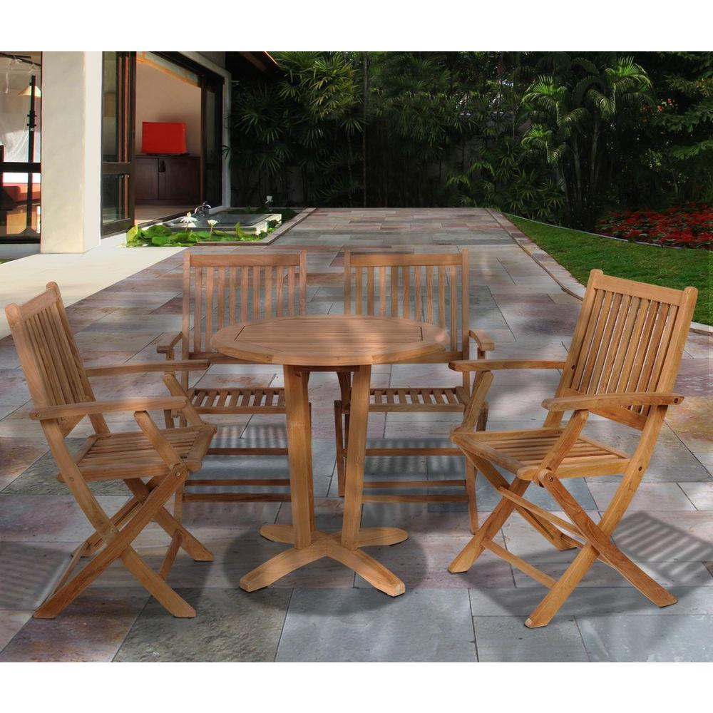 Amazonia Kansas Teak 5-Piece Patio Dining Set