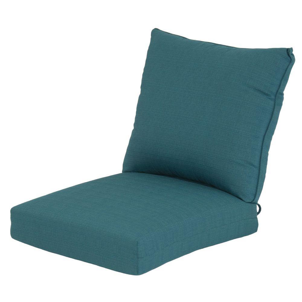 Hampton Bay Mediterranean Solid Rapid-Dry Deluxe 2-Piece Outdoor Deep Seating Cushion