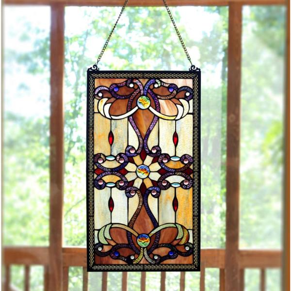 River of Goods Amber Stained Glass Brandi's Window Panel 13270