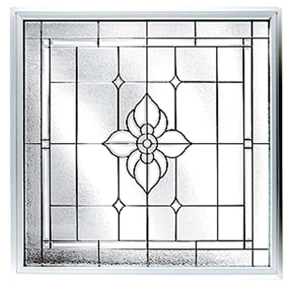Hy-Lite 47.5 in. x 47.5 in. Satin Nickel Caming Spring Flower Pattern Deco Glass White Vinyl Window-DISCONTINUED