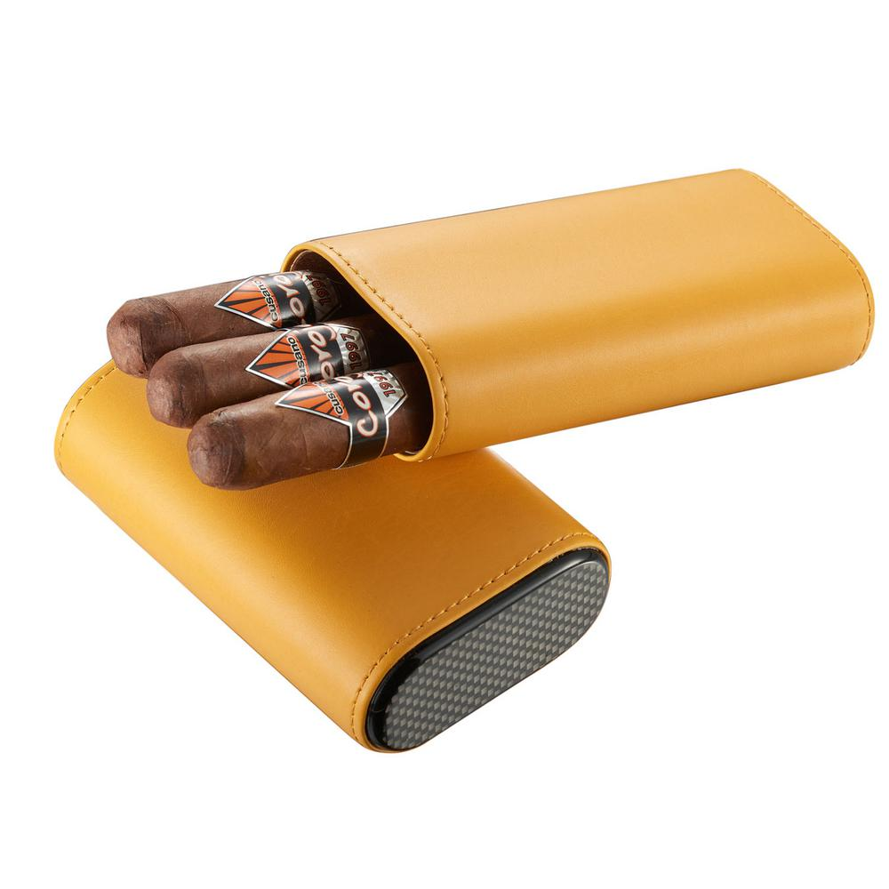 Visol Burgos Yellow Leather Cigar Case Discover the casual side of carrying your cigars with the Visol Burgos. This easily adjustable case allows you to select up to 3 of your larger ring cigars to take with you, keeping them preserved inside the cedar lined interior. With the crush proof exterior, this premium yellow leather shrouded case will keep your cigars safe. A carbon fiber printed top and bottom give the Burgos an edgier and unique look.