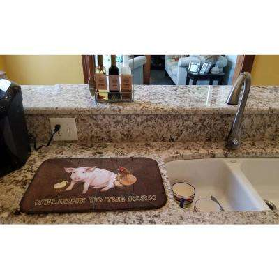 14 in. x 21 in. Welcome to the Farm with the pig and chicken Dish Drying Mat