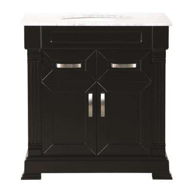Alluring 31.5 in. W x 33 in. H in Black with Marble Vanity Top in White with White Basin