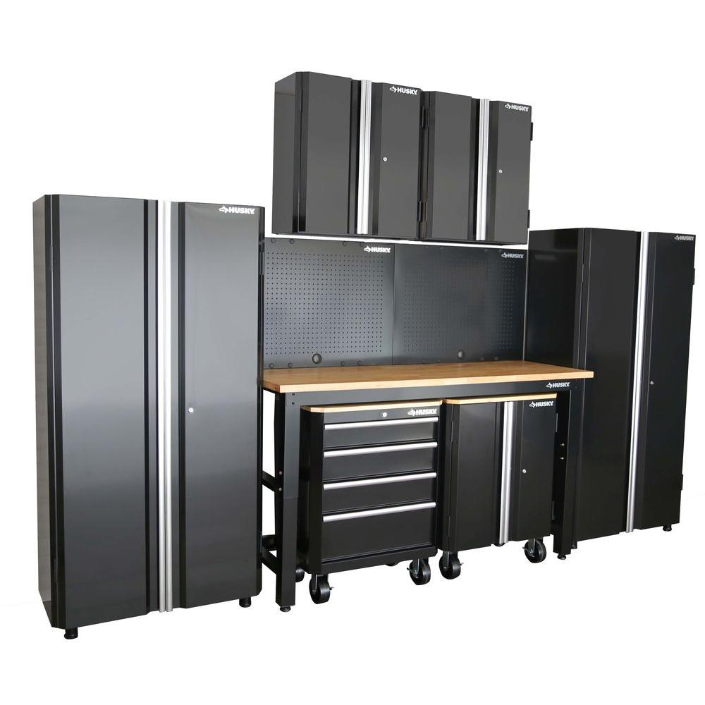 Husky 98 In. H X 145 In. W X 24 In. D Steel Garage Cabinet Set In Black  (8 Piece) G14510S US   The Home Depot