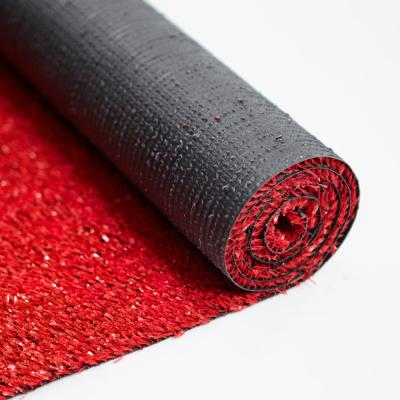 Evergreen  6 ft. 7 in. x 9 ft. 3 in. Red Artificial Grass Carpet