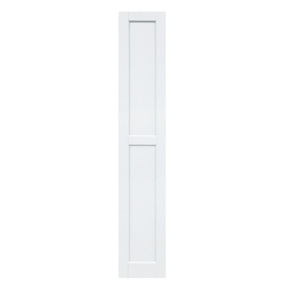 Winworks Wood Composite 12 in. x 68 in. Contemporary Flat Panel Shutters Pair #631 White