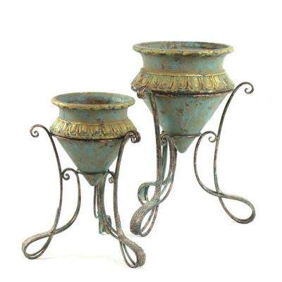 Iron Plant Stands with Magnesium Pots (Set of 2)