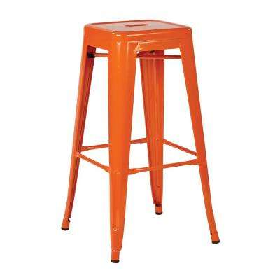 30 in. Steel Backless Barstool in Orange Solid Finish (2-Pack)