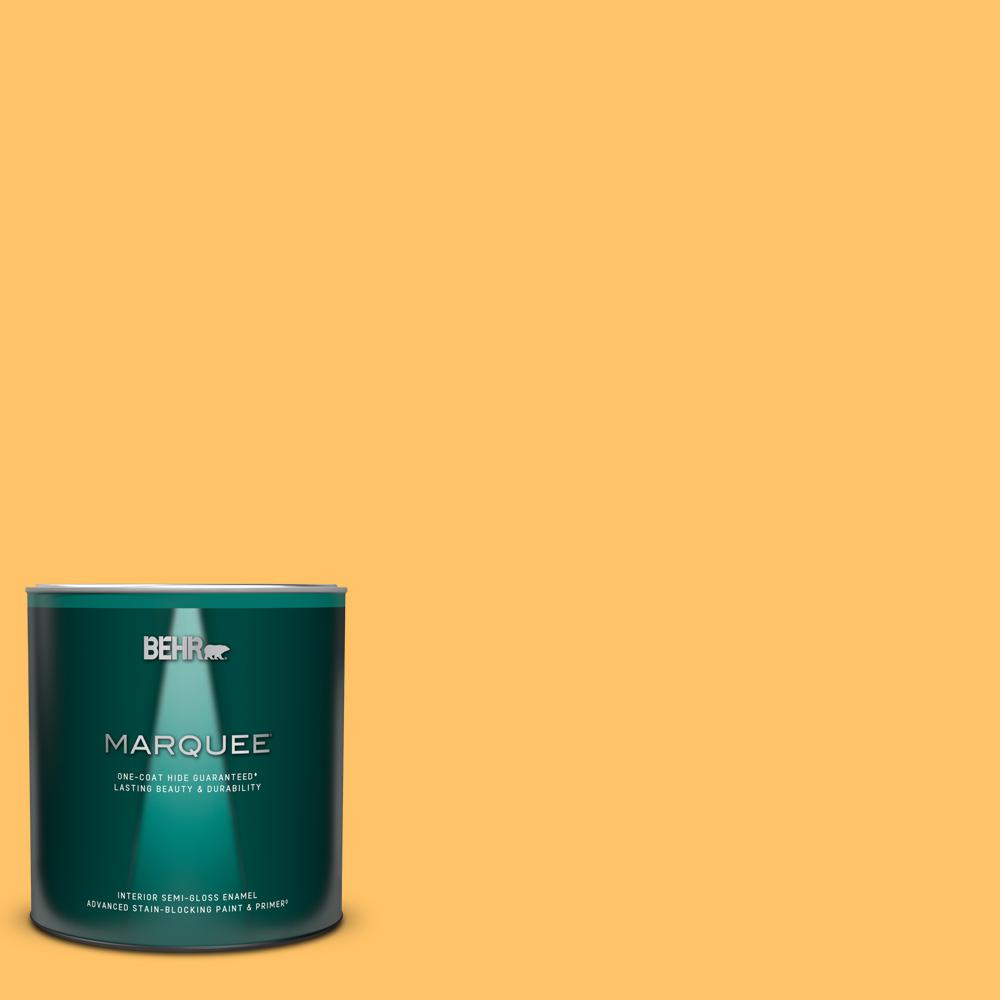 Behr Marquee 1 Qt Ppu6 06 Honey Locust Semi Gloss Enamel Interior Paint And Primer In One 345404 The Home Depot