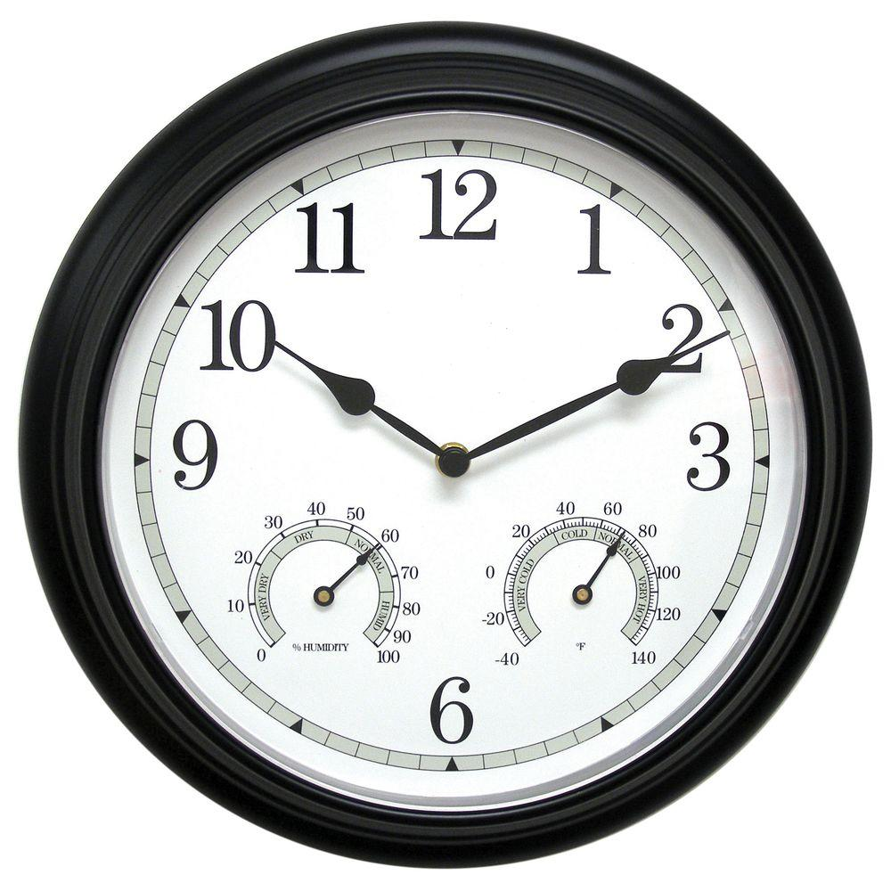Gentil Black Metal Wall Clock With Analog Thermometer And Hygrometer