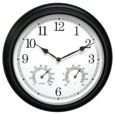 14 in. Black Metal Wall Clock with Analog Thermometer and Hygrometer