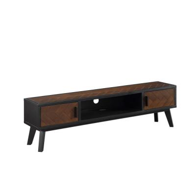 Mid-Century TV Stand Console with 2 Doors-Four Tapered Legs and One Niche
