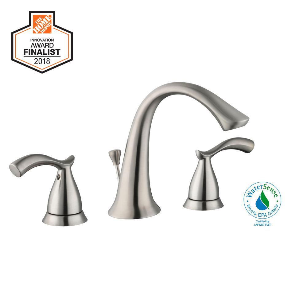 Glacier Bay Edgewood 8 in. Widespread 2-Handle High-Arc Bathroom Faucet in Brushed Nickel