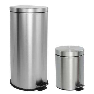 Oscar 8 Gal. Step-Open Stainless Steel Trash Can with Free Mini Trash Can