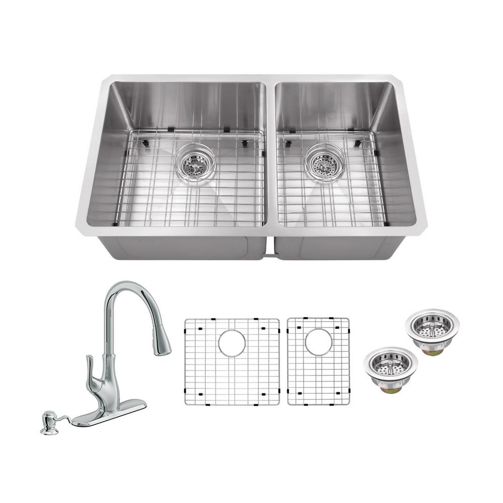 All-in-One Undermount Stainless Steel (Silver) 32 in. 60/40 Double Bowl Kitchen Sink with Polished Chrome Kitchen Faucet