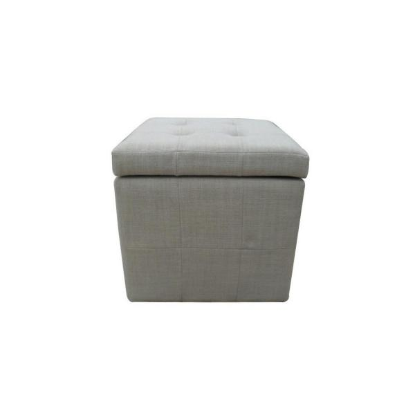 Pleasing Tufted Beige Fabric Cube Storage Ottoman Pabps2019 Chair Design Images Pabps2019Com