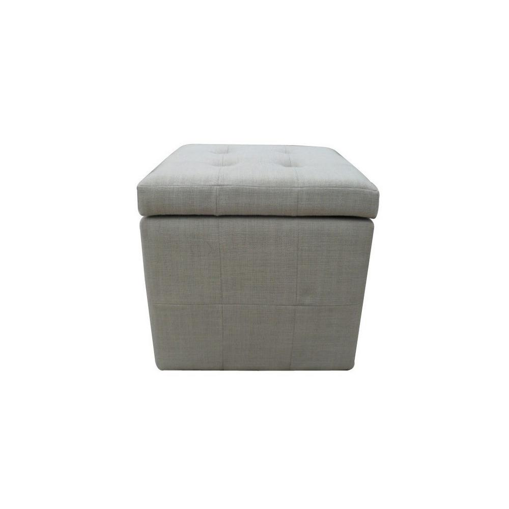 Noble House Tufted Beige Fabric Cube Storage Ottoman Never run out of extra storage or extra seating space with this square tufted storage ottoman. Sleek and simple lines allow you to mix and match this piece with any pre-existing decor. Put your books, magazines, game controllers and other knick-knacks in it and make them easily accessible at a moment's notice. Color: Beige.