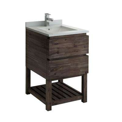 Formosa 24 in. Modern Vanity with Open Bottom in Warm Gray, Quartz Stone Vanity Top in White with White Basin