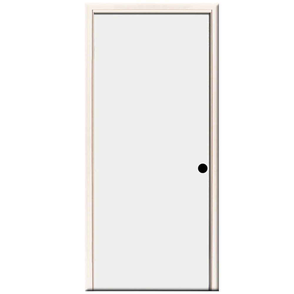 Steves & Sons 24 in. x 80 in. Premium Flush Primed White Left-Hand Inswing Steel Prehung Front Door with 4 in. Wall