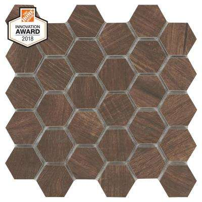 Autumn Wood Hexagon 12 in. x 12 in. x 8mm Glazed Porcelain Mosaic Floor and Wall Tile (0.83 sq. ft. / piece)