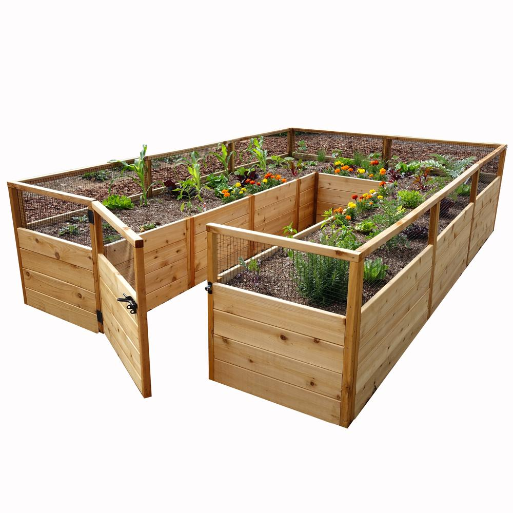 elevated garden beds outdoor living today 8 ft x 12 ft cedar raised garden 12663