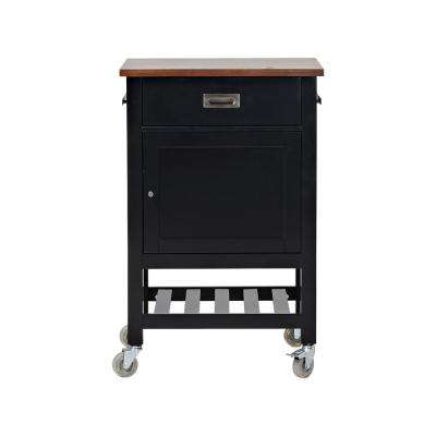 Black Kitchen Cart with 1-Door