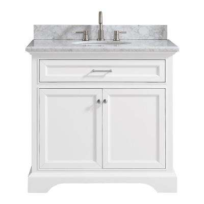 Windlowe 37 in. W x 22 in. D x 35 in. H Bath Vanity in White  with Carrera Marble Vanity Top in White  with White Basin
