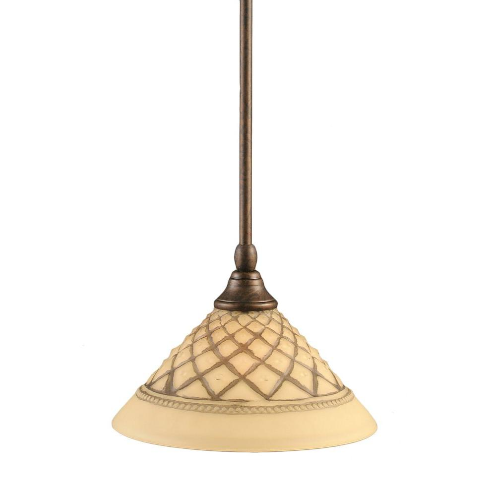 Filament Design 1-Light Bronze Pendant with Chocolate Icing Glass