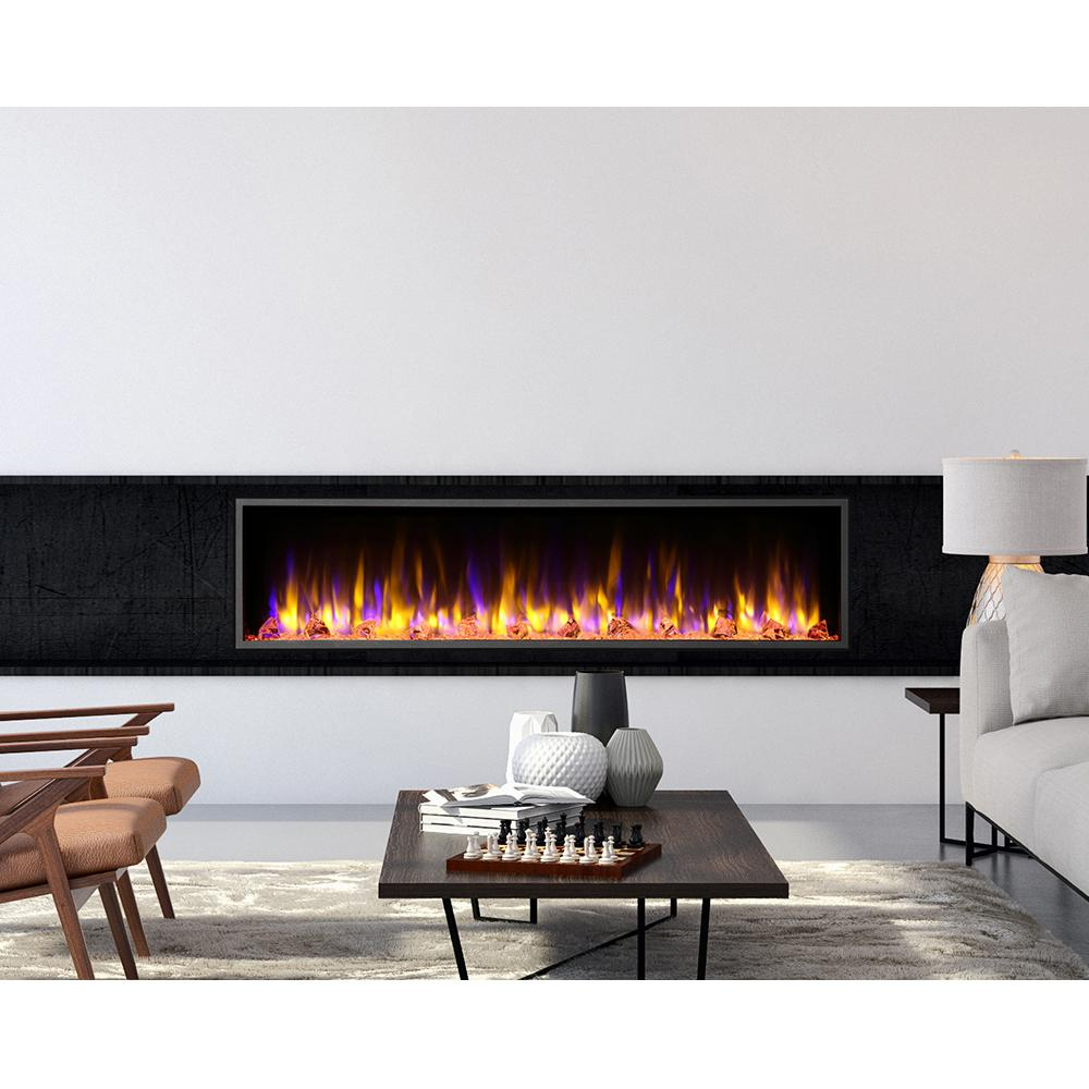 Dynasty Fireplaces 64 in. Harmony Built-in LED Electric Fireplace in Black Trim