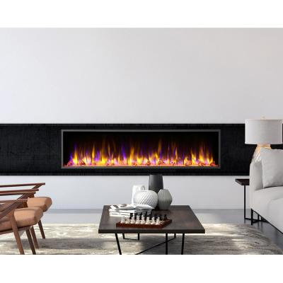 64 in. Harmony Built-in LED Electric Fireplace in Black Trim
