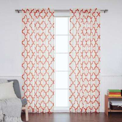 96 in. L Cardinal Red Faux Linen Reverse Moroccan Curtain (2-Pack)