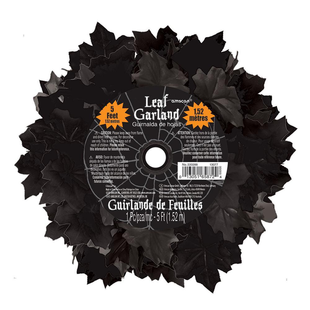 5 ft. Halloween Black Leaf Garland (3-Pack)