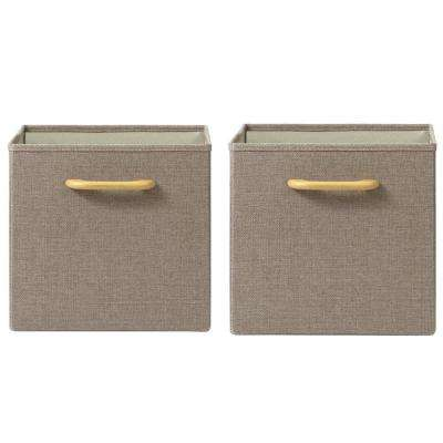 Collapsible Tan Bins with Handles (Set of 2)