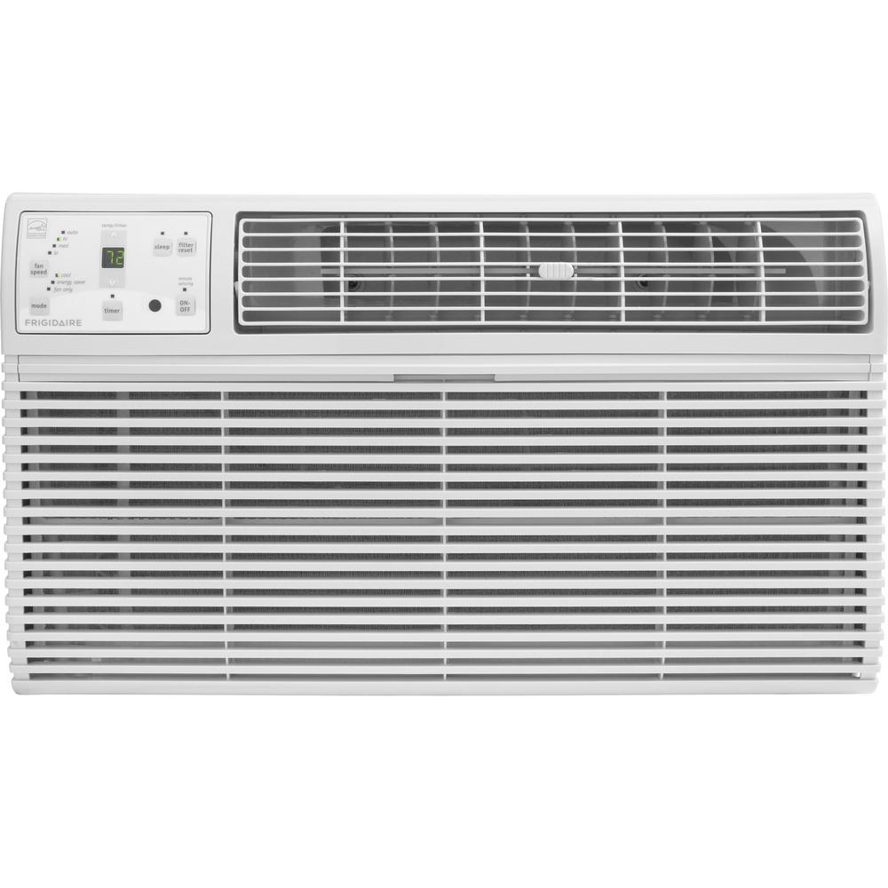 Frigidaire 12,000 BTU 230-Volt Through-the-Wall Air Conditioner with Remote Thermostat, White This unit from Frigidaire's selection of thru-the-wall air conditioners offers a refreshing 12,000 BTUs of cooling power with up to 286 CFM of air circulation. This ENERGY STAR certified model is able to cool a room while remaining energy efficient with Energy Saver Mode. The Effortless Remote Temperature Control function precisely maintains a preset room temperature, and with the 24-hour on/off timer, you can program the AC to operate on your schedule. Color: White.